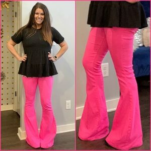 "Hot Pink Bell Bottom Jeans / S-XL / 34"" Inseam"
